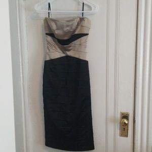 Bebe satin bodycon strapless dress